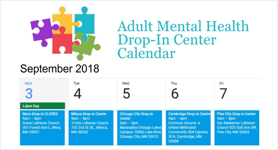 Adult Mental Health Drop-in for week of Sept 3 – Adult