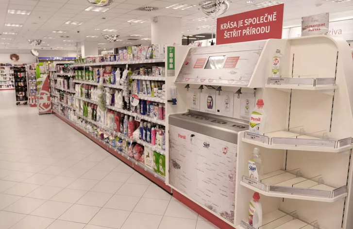 Some drugstores in the Czech Republic introduced washing detergents filling machines. Customers can refill their empty bottles with various products so they don't have to buy a new one everytime
