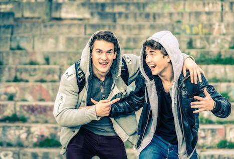 hipster male bestfriends in hoodies