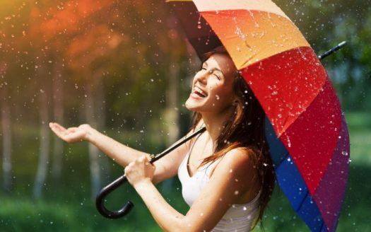 Happy Women in Rain