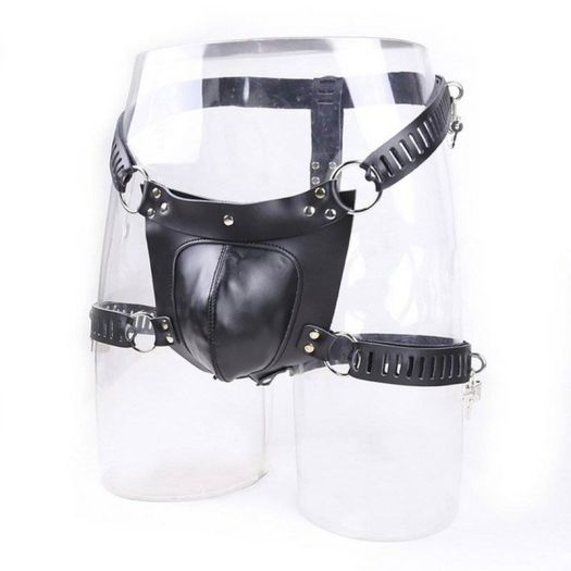 Leather chastity pants