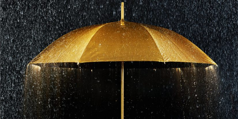 Golden Umbrella Shower Photo