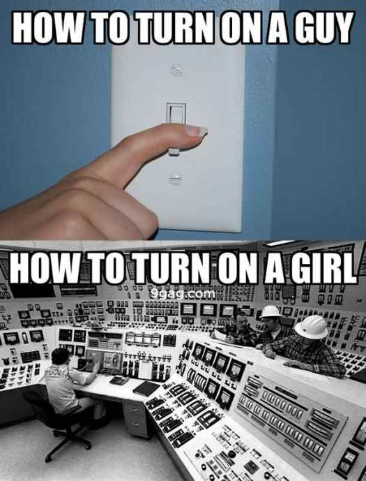 How To Turn On a Guy and Girl Funny Meme Photo