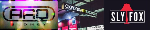 Sydney Nightclubs Banners Including ARQ, Oxford Art Factory And Sly Fox