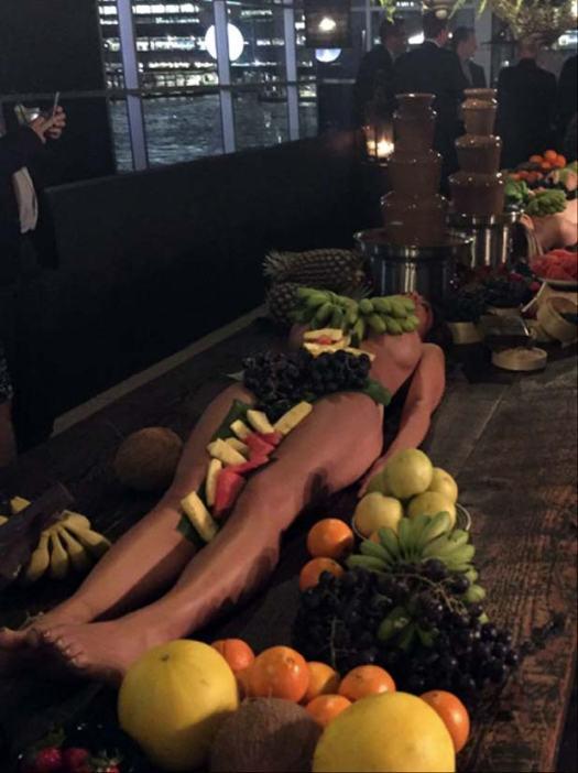 Naked Model Wearing Fruit