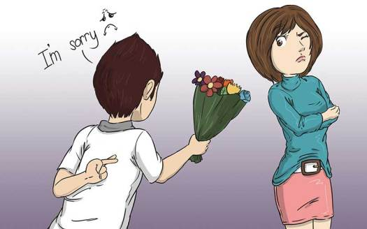 Man apologising to girlfriend