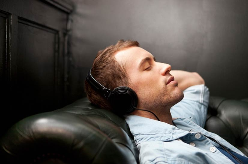 Man listening to audio porn