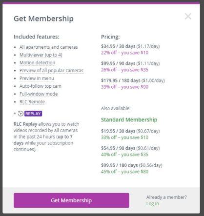 RealLifeCam Costs