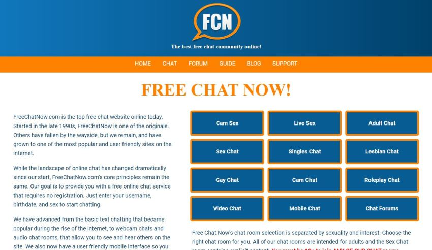 Free Chat Now Homepage