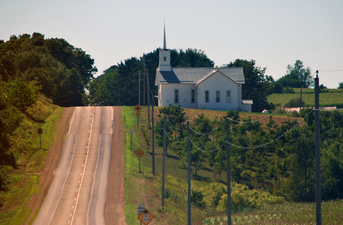 Country church in Green County, Wisconsin