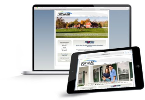 Forward Mutual's website on a laptop and iPad