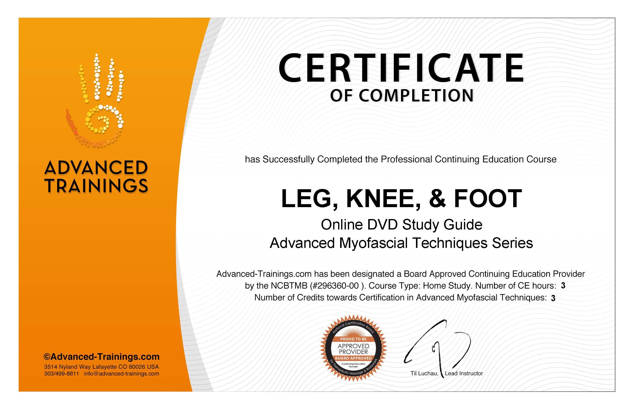 Leg Knee Foot Adv Myofascial Techniques Certificate Credits