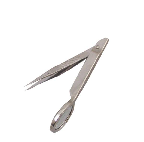 tweezers with magnifier