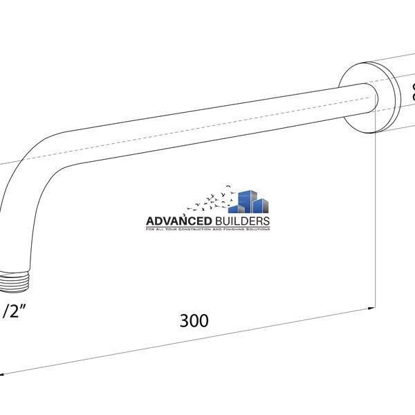 Brass Wall Shower Arm 300mm