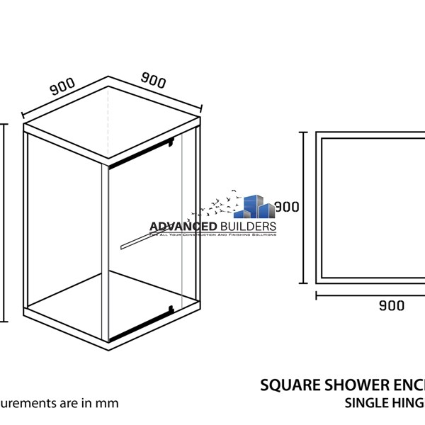 Shower Enclosure Square 900 x 900 x 2000mm