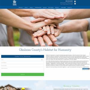 Habitat for Humanity of Fort Walton Beach's responsive web design was programmed with animation, parallax and a volunteer sign up calendar.