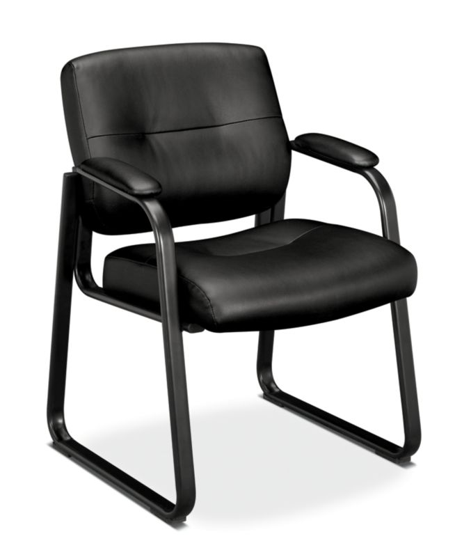 HON Client Sled Base Guest Chair | Fixed Arms | Black SofThread Leather
