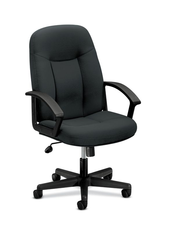 HON High-Back Executive Chair | Center-Tilt | Fixed Arms | Charcoal Fabric