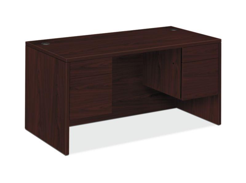 "HON 10500 Series Double Pedestal Desk | 2 Box / 2 File Drawer | 60""W | Mahogany Finish"