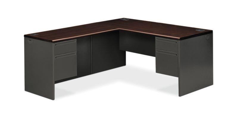 "HON 38000 Series L-Workstation | Right Pedestal | Mahogany Laminate | Charcoal Paint | 66""W"