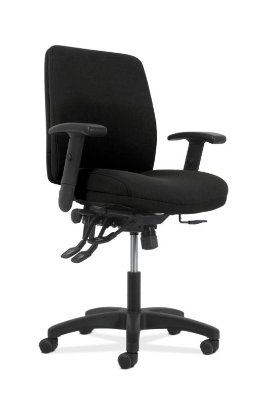 HON Contemporary Mid-Back Task Chair | Asynchronous Control | Height- and Width-Adjustable Arms | Black Fabric