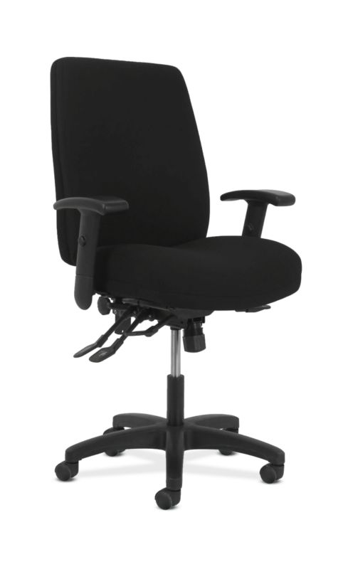 HON Contemporary High-Back Task Chair | Asynchronous Control | Height- and Width-Adjustable Arms | Black Fabric
