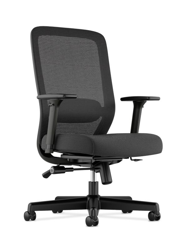 HON Exposure Mesh High-Back Task Chair | Synchro-Tilt, Lumbar, Seat Glide | 2-Way Arms | Black Fabric