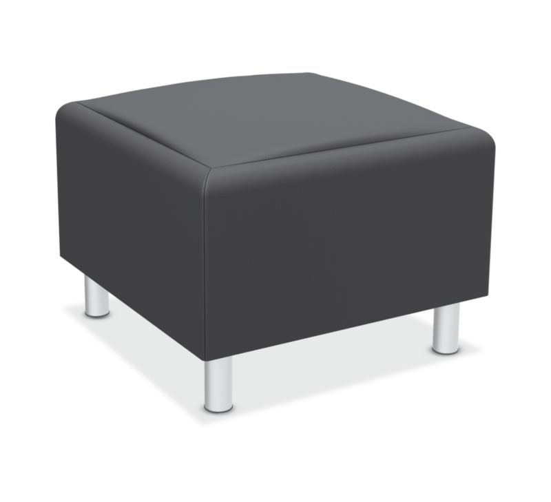 HON Greet Storage Ottoman | Reversible Laminate Surface | Charcoal Fabric