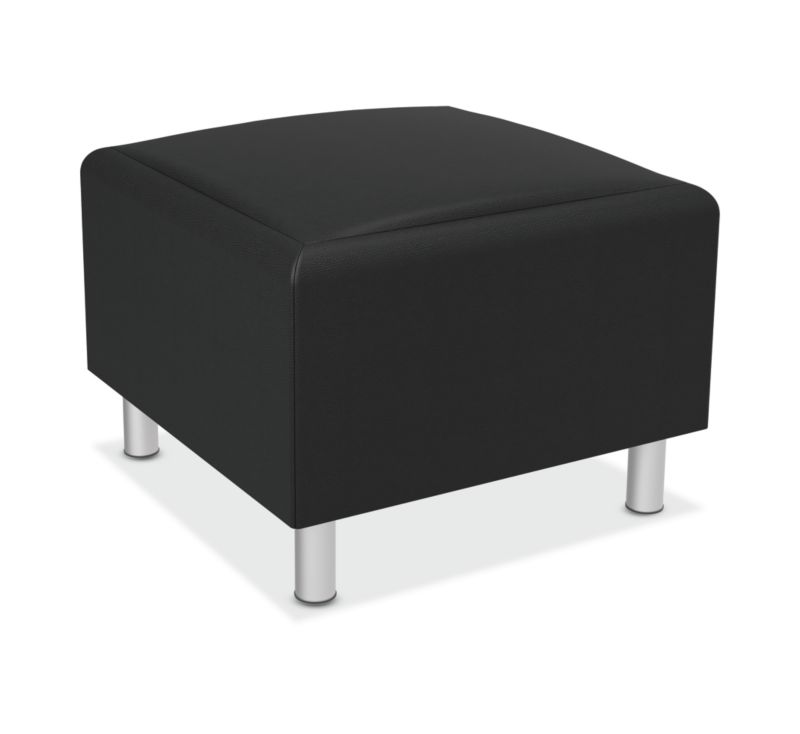 HON Greet Storage Ottoman | Reversible Laminate Surface | Black Leather