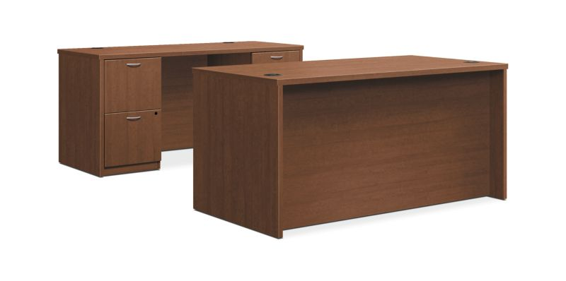 "HON Foundation Desk / Credenza | 2 Box / 3 File Drawers | 60""W | Shaker Cherry Laminate"