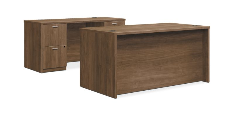 "HON Foundation Desk / Credenza | 2 Box / 3 File Drawers | 60""W 