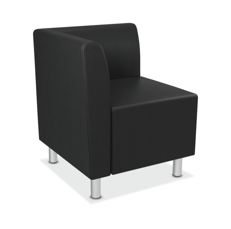 HON Greet Corner Lounge | Single Arm | Non-Handed | Black Leather