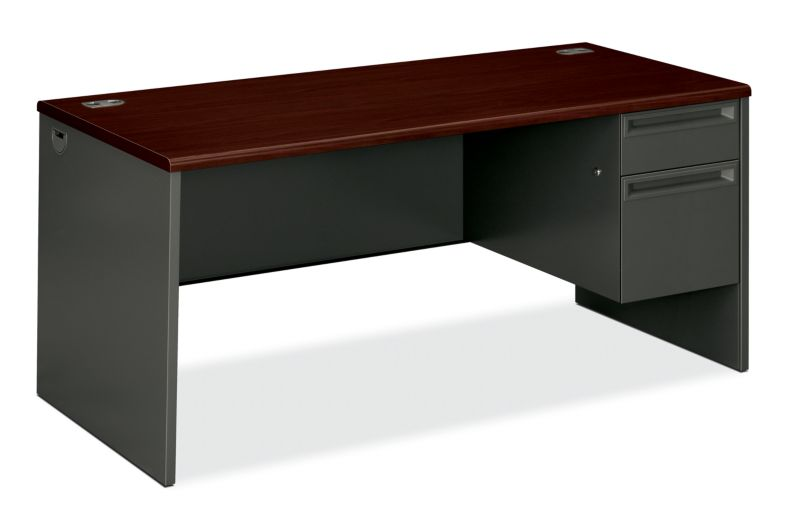 "HON 38000 Series Right Pedestal Desk | 1 Box / 1 File Drawer | 66""W 