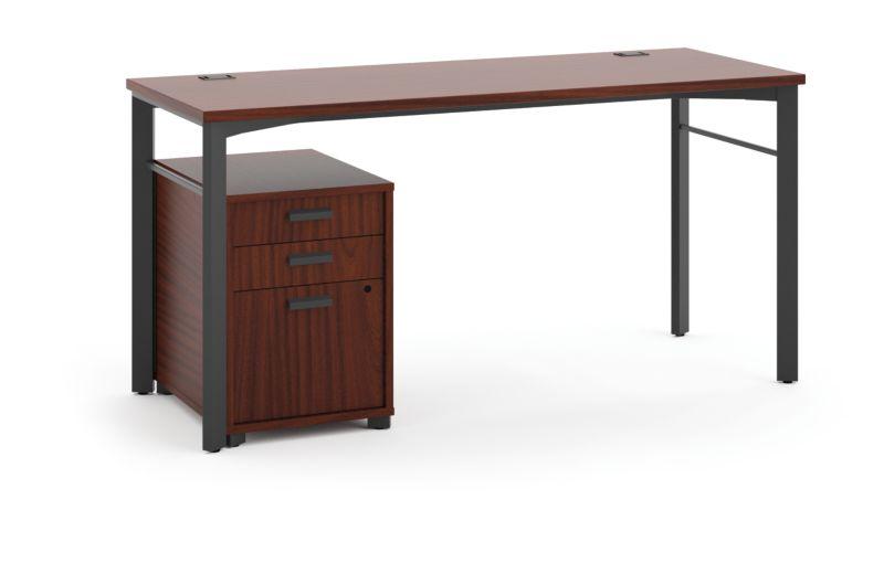 "HON Manage Table Desk | Pedestal | 60""W x 24""D | Chestnut Laminate | Ash Finish"