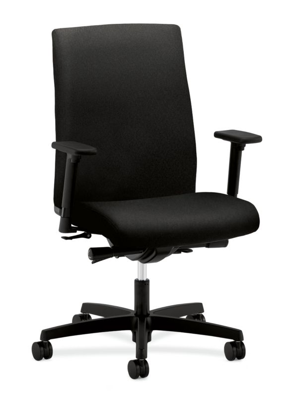 HON Ignition Mid-Back Task Chair | Synchro-Tilt, Back Angle | Adjustable Arms | Black Fabric