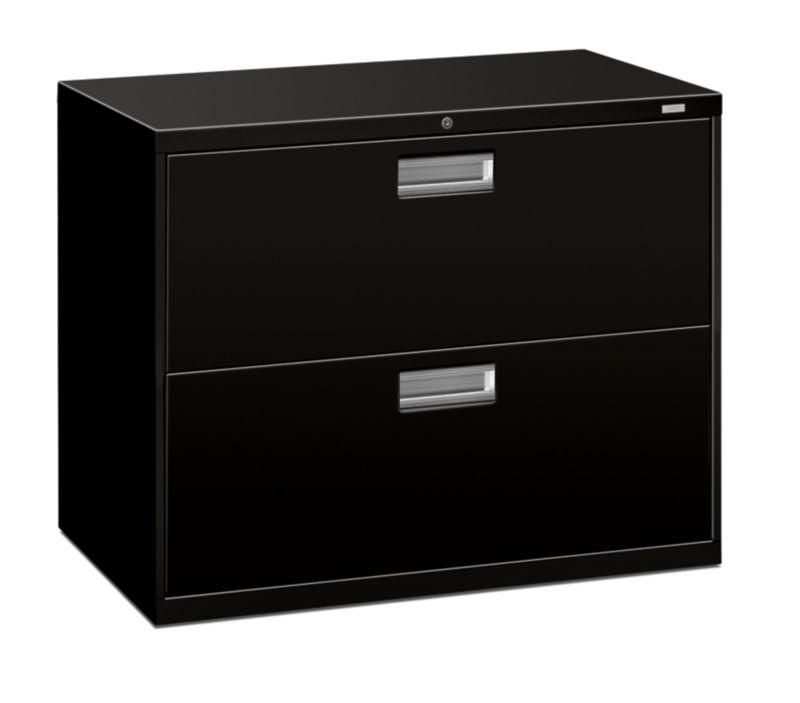 "HON Brigade 600 Series Lateral File | 2 Drawers | Aluminum Pull | 36""W | Black Finish"