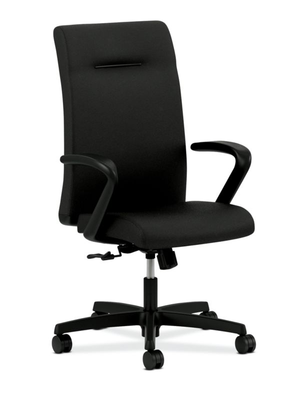 HON Ignition Executive High-Back Task Chair   Fixed Arms   Hard Casters   Upholstered Back   Black Fabric   Standard Base