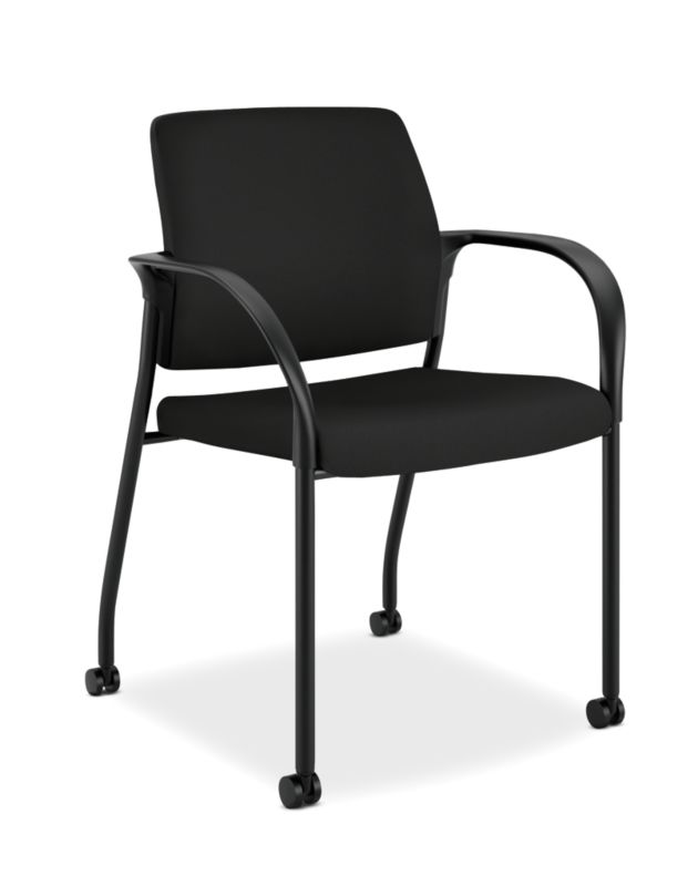 HON Ignition Multi-Purpose Stacking Chair | 4-Leg | Fixed Arms | All Surface Casters | Upholstered Back | Black Fabric | Black Frame