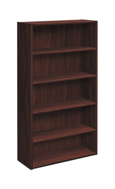 "HON Foundation Bookcase   5 Shelves   32""W   Mahogany Finish"