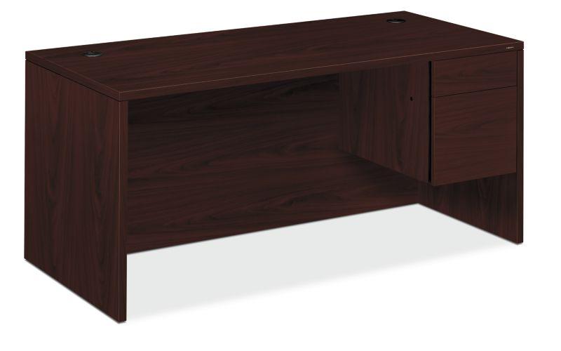 "HON 10500 Series Right Pedestal Desk | 1 Box / 1 File Drawer | 66""W | Mahogany Finish"
