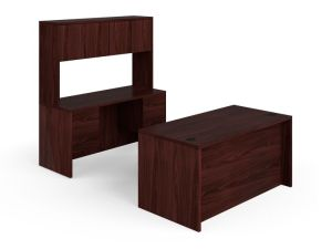 HON 10500 Series Double Pedestal Desk / Credenza | Full Pedestals | 4 Box / 4 File Drawers | 60″W | Mahogany Finish
