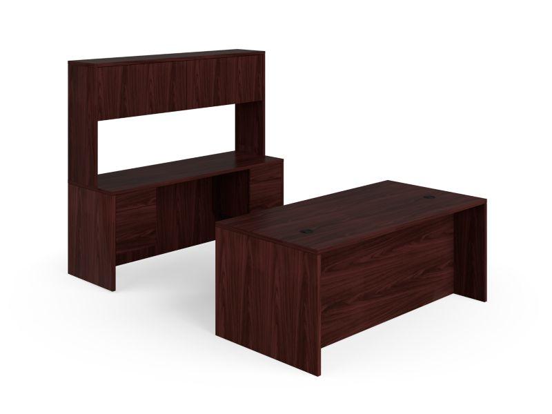 "HON 10500 Series Double Pedestal Desk / Credenza | Stack-On Storage | 3/4 Pedestals | 4 Box / 4 File Drawers | 72""W | Mahogany Finish"
