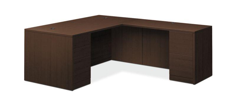 "HON 10500 Series L-Workstation | Full Pedestals | 2 Box / 3 File Drawers | 72""W | Mocha Finish"