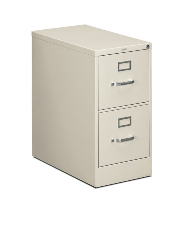 """HON 310 Series Vertical File   2 Drawers   Letter Width   15""""W x 26-1/2""""D   Light Gray Finish"""
