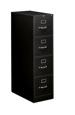 HON 310 Series Vertical File | 4 Drawers | Letter Width | 15″W x 26-1/2″D | Black Finish