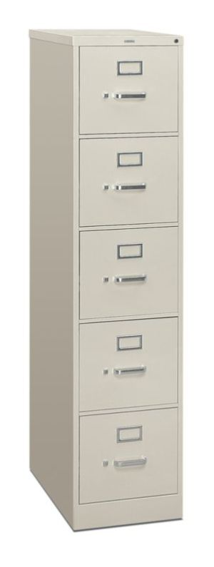 HON 310 Series Vertical File | 5 Drawers | Letter Width | 15″W x 26-1/2″D | Light Gray Finish