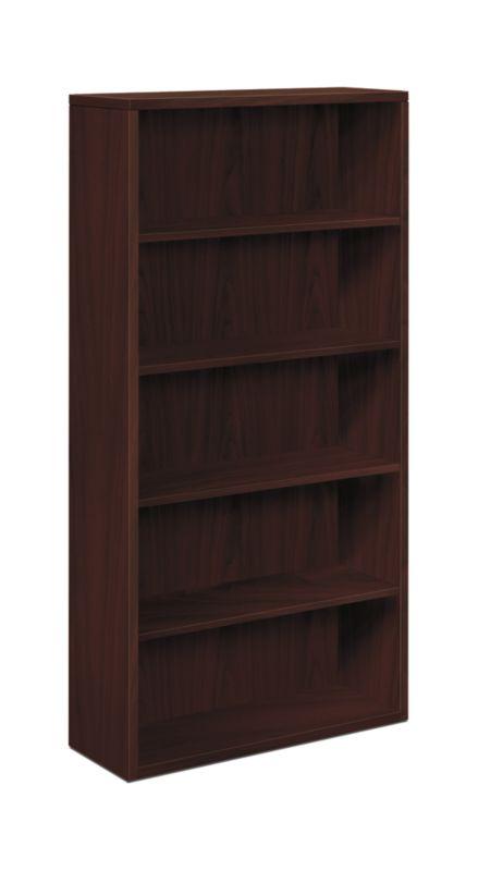 "HON 10500 Series Bookcase | 5 Shelves | 36""W x 13-1/8""D x 71""H | Mahogany Finish"