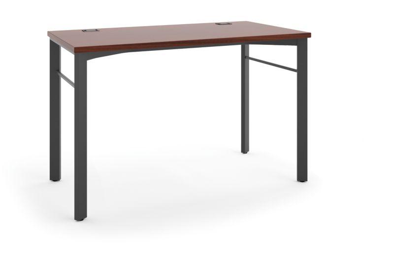 "HON Manage Table Desk   48""W x 23-1/1""D   Chestnut Laminate   Ash Finish"