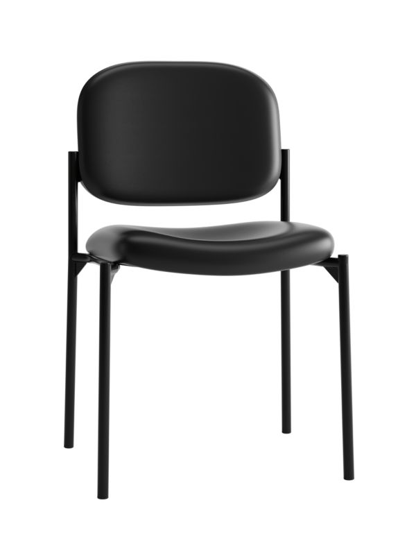 HON Scatter Stacking Guest Chair | Black SofThread Leather