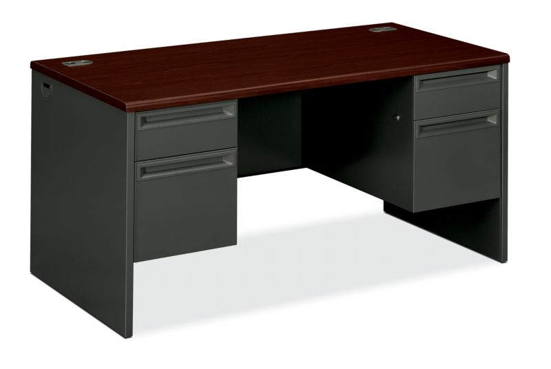 "HON 38000 Series Double Pedestal Desk | 2 Box / 2 File Drawers | 60""W x 30""D x 29-1/2""H | Mahogany Laminate | Charcoal Finish"